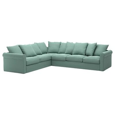 GRÖNLID أريكة زاوية، 5 مقاعد, Ljungen أخضر فاتح