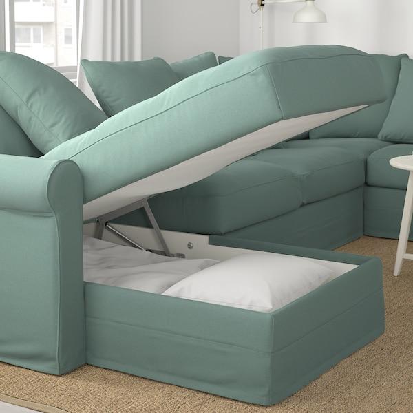 GRÖNLID Corner sofa, 5-seat w chaise longue, Ljungen light green