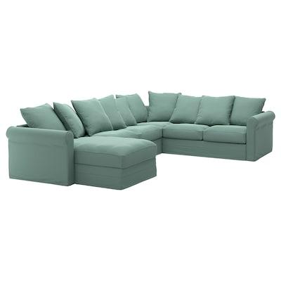 GRÖNLID أريكة زاوية، 5 مقاعد, مع أريكة طويلة/Ljungen أخضر فاتح
