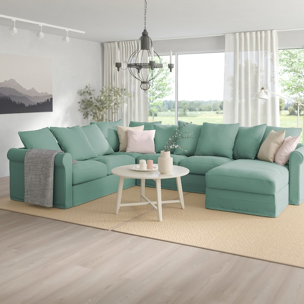 GRÖNLID Corner sofa, 5-seat, with chaise longue/Ljungen light green