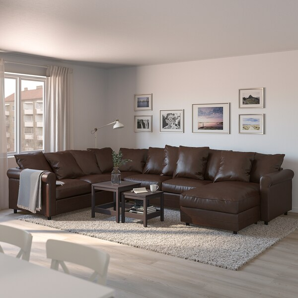 GRÖNLID corner sofa-bed, 5-seat with chaise longue/Kimstad dark brown 53 cm 104 cm 164 cm 98 cm 126 cm 252 cm 352 cm 60 cm 49 cm 140 cm 200 cm 12 cm