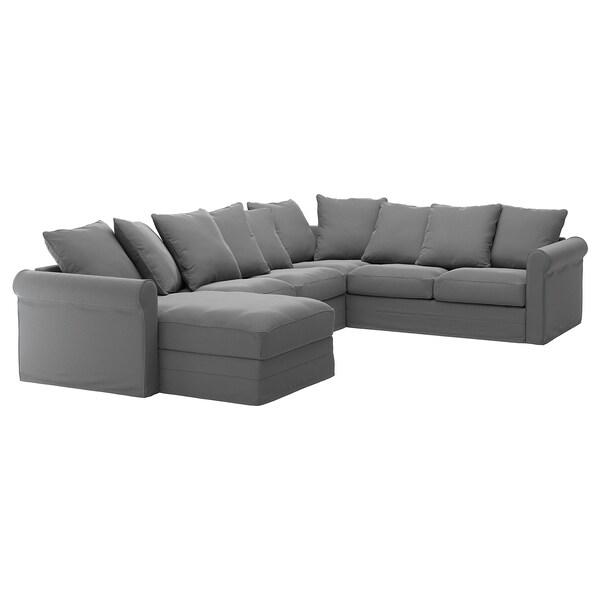 GRÖNLID غطاء أريكة زاوية، 5 مقاعد, مع أريكة طويلة/Ljungen رمادي معتدل
