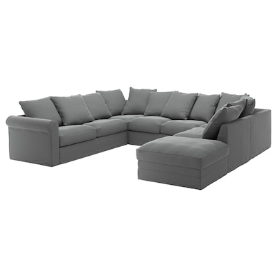 GRÖNLID U-shaped sofa, 6 seat, with open end/Ljungen medium grey