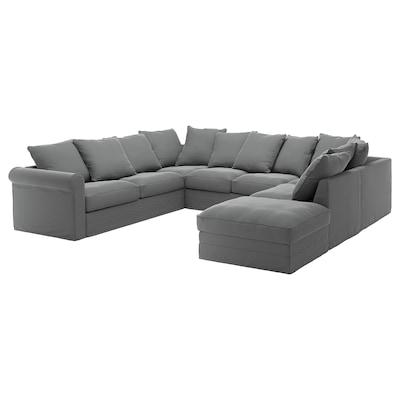 GRÖNLID أريكة على شكل U، عدد 6 مقاعد, مع طرف مفتوح/Ljungen رمادي معتدل