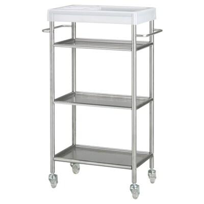 GRUNDTAL Trolley, stainless steel, 48x24x77 cm