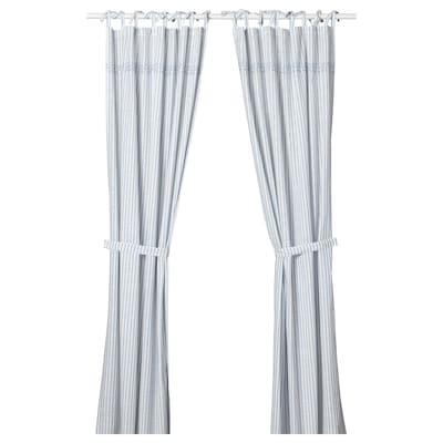 GULSPARV Curtains with tie-backs, 1 pair, striped blue/white, 120x300 cm