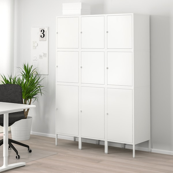HÄLLAN Storage combination with doors, white, 135x47x192 cm