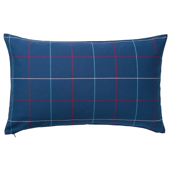 HÄSSLEBRODD Cushion, blue/multicolour check, 40x65 cm