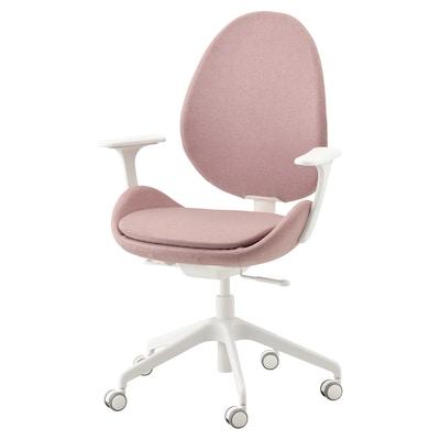 HATTEFJÄLL كرسي مكتب بمساند ذراعين, Gunnared بني فاتح-وردي/أبيض