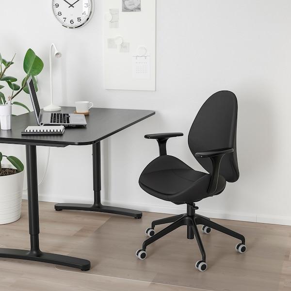 HATTEFJÄLL كرسي مكتب بمساند ذراعين, Smidig أسود/أسود