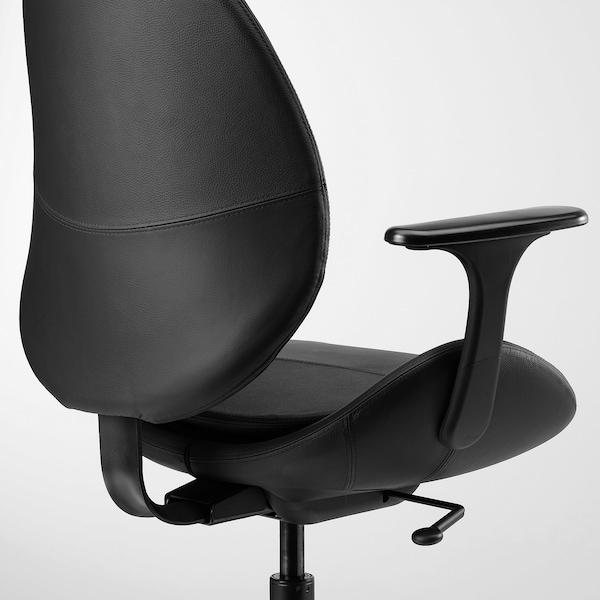 HATTEFJÄLL Office chair with armrests, Smidig black/black