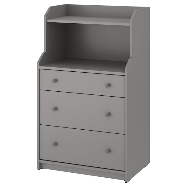 HAUGA Chest of 3 drawers with shelf, grey, 70x116 cm