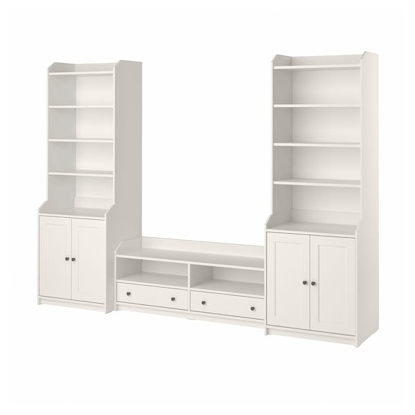 HAUGA TV/storage combination, white, 277x46x199 cm