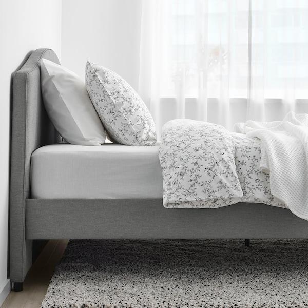 HAUGA هيكل سرير بتنجيد, Vissle رمادي, 140x200 سم