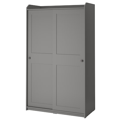 HAUGA خزانة ملابس مع باب منزلق, رمادي, 118x55x199 سم