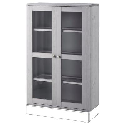 HAVSTA Glass-door cabinet, grey, 81x35x123 cm