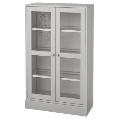 HAVSTA Glass-door cabinet with plinth, grey/clear glass, 81x37x134 cm