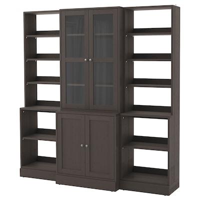HAVSTA Storage combination w glass doors, dark brown, 203x47x212 cm