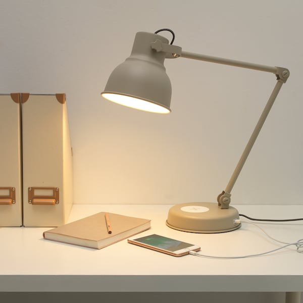 Hektar Work Lamp With Wireless Charging Beige Ikea
