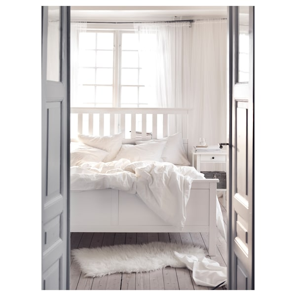 HEMNES Bed frame, white stain/Leirsund, 180x200 cm