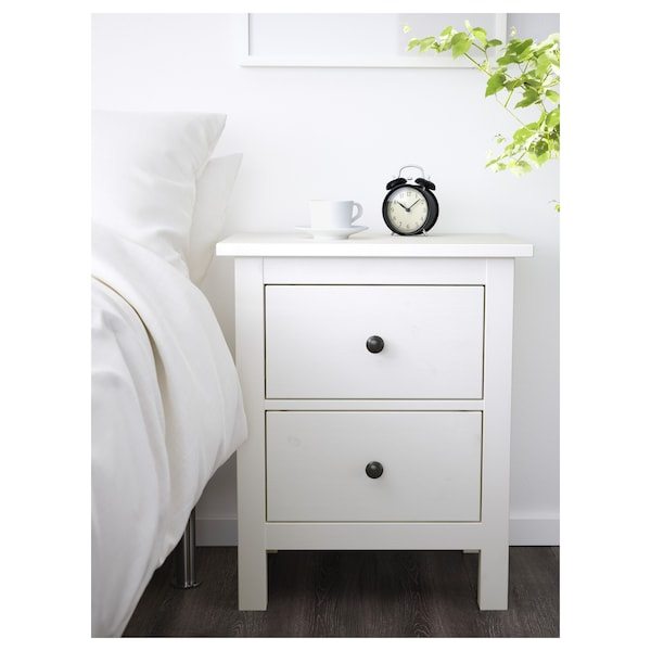HEMNES Chest of 2 drawers, white stain, 54x66 cm