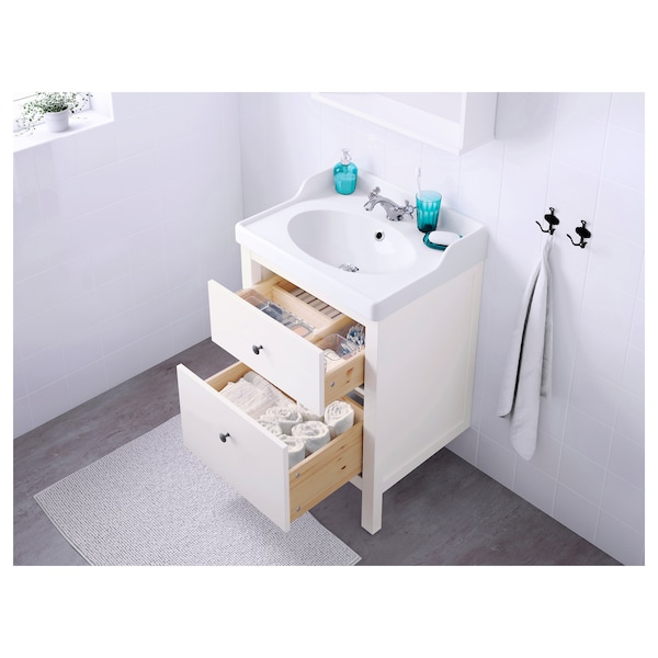 HEMNES / RÄTTVIKEN Wash-stand with 2 drawers, white/Runskär tap, 62x49x89 cm