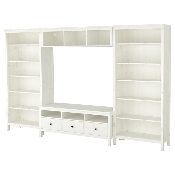 HEMNES TV storage combination, white stain, 326x197 cm