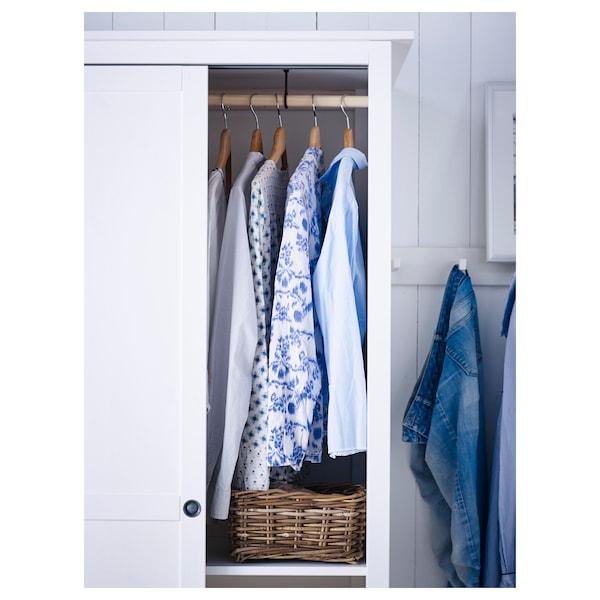 HEMNES خزانة ملابس مع بابين إنزلاقية, صباغ أبيض, 120x197 سم