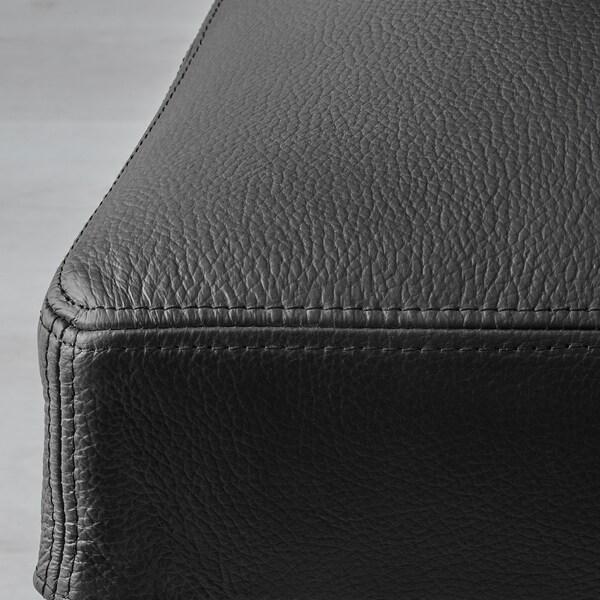 HENRIKSDAL Bar stool with backrest, brown-black/Glose black, 74 cm