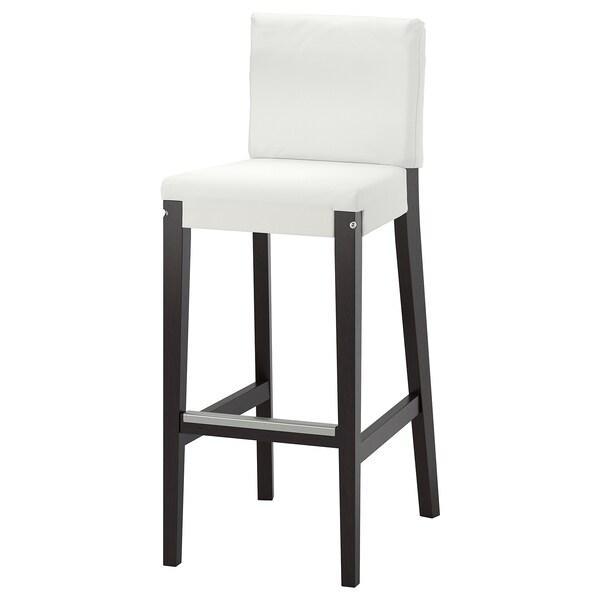 HENRIKSDAL Bar stool with backrest frame, dark brown, 74 cm