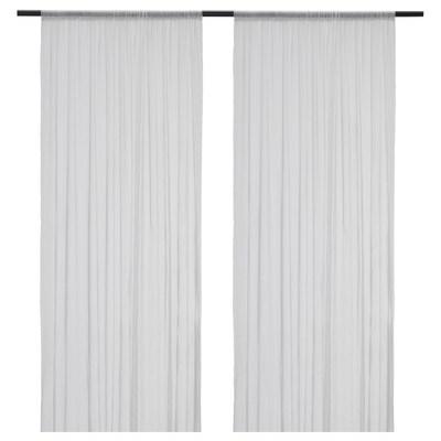 HILDRUN Sheer curtains, 1 pair, white/dotted, 145x300 cm