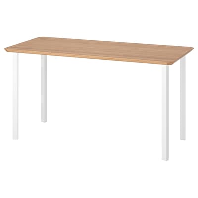 HILVER / GODVIN Table, bamboo/white, 140x65 cm