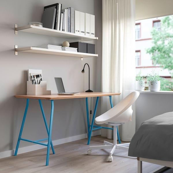 HILVER / LERBERG Table, bamboo/blue, 140x65 cm