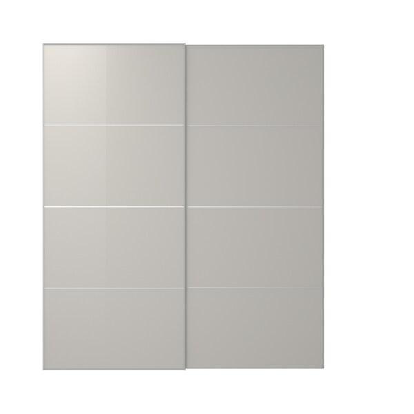 HOKKSUND Pair of sliding doors, high-gloss light grey, 200x236 cm