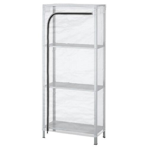 HYLLIS shelving unit with cover transparent 60 cm 27 cm 140 cm