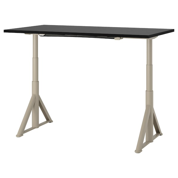 IDÅSEN Desk sit/stand, black/beige, 160x80 cm