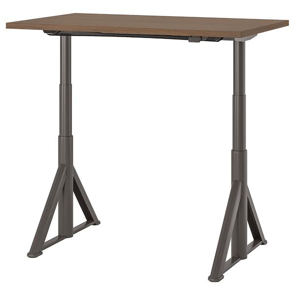 IDÅSEN Desk sit/stand, brown/dark grey, 120x70 cm