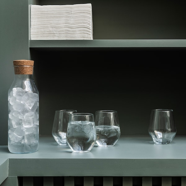 IKEA 365+ Carafe with stopper, clear glass/cork, 1 l