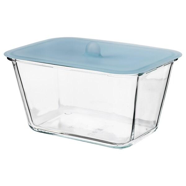 IKEA 365+ حاوية طعام مع غطاء, مستطيل زجاج/سليكون, 1.8 ل