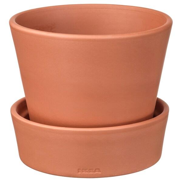 INGEFÄRA Plant pot with saucer, outdoor/terracotta, 12 cm
