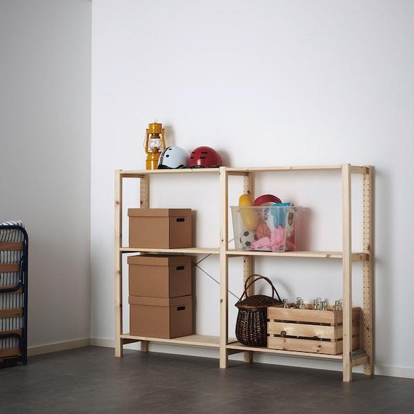 IVAR 2 sections/shelves, pine, 174x30x124 cm