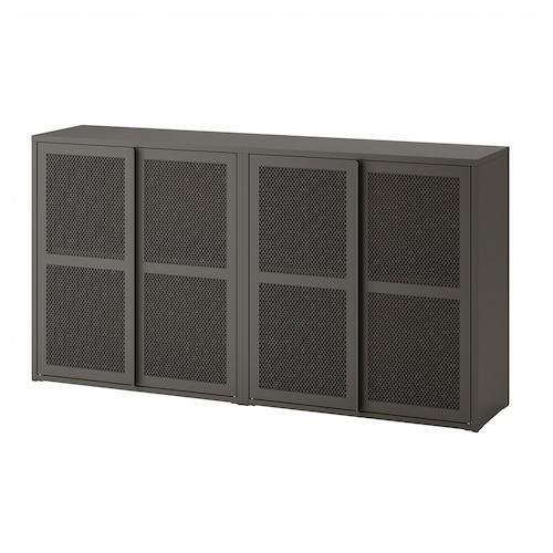 IVAR cabinet with doors grey mesh 160 cm 30 cm 83 cm