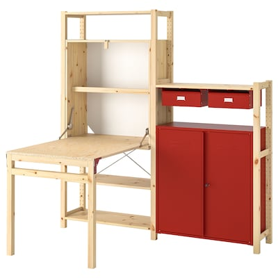 IVAR Shelv unit w table/cabinets/drawers, pine/red, 175x30-104x179 cm