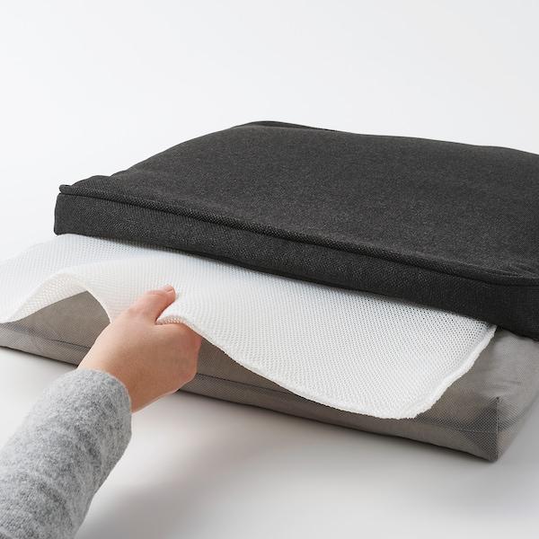 JÄRPÖN/DUVHOLMEN وسادة كرسي، خارجي, فحمي, 50x50 سم