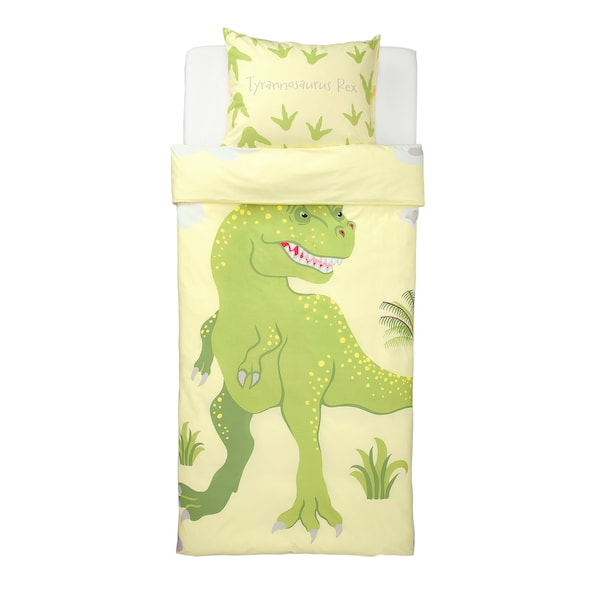 JÄTTELIK Quilt cover and pillowcase, Tyrannosaurus Rex/Triceratops/yellow, 150x200/50x80 cm