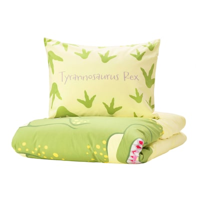 JÄTTELIK Quilt cover and pillowcase, Tyrannosaurus Rex/Triceratops/yellow, 150x200/50x80 cm