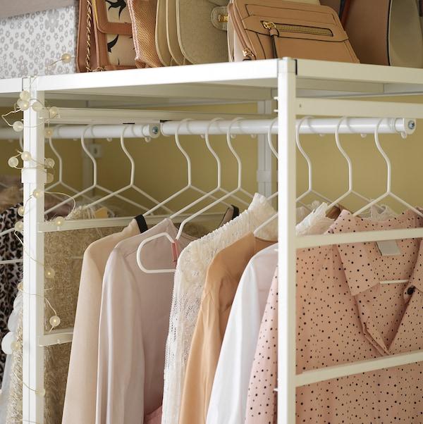 JONAXEL Frame/mesh baskets/clothes rails, white, 148x51x207 cm