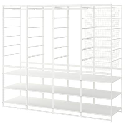 JONAXEL هيكل/مع سلال/ماسورة ملابس/أرفف, أبيض, 198x51x173 سم