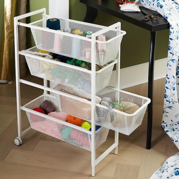 JONAXEL Frame with mesh baskets/castors, white, 25x51x73 cm