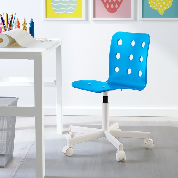 JULES Children's desk chair, blue/white